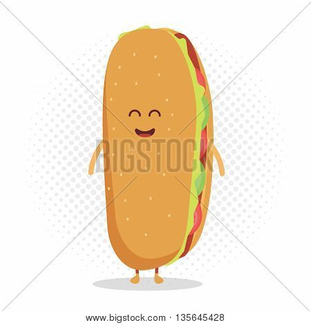 Kids restaurant menu cardboard character. Template for your projects, websites, invitations. Funny cute hot dog drawn with a smile, eyes and hands.