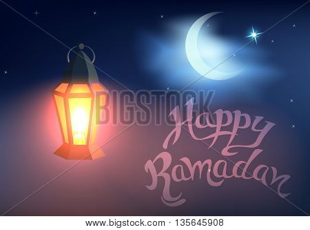 Shining lantern against blue night sky with an crescent moon.Cartoon style.Vector illustration