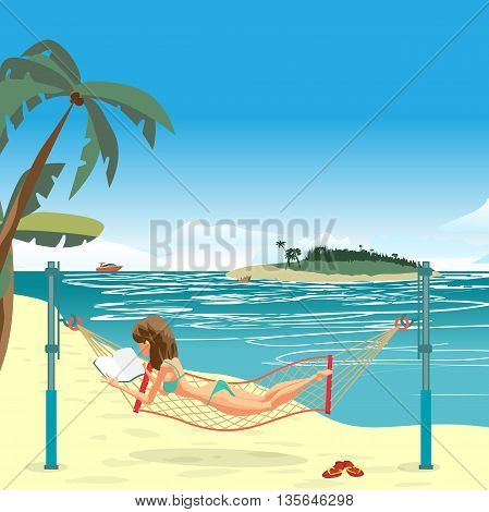 Woman dressed in green swimsuit lying in a hammock, stretched on the beach and reading a book. Vector flat cartoon illustration. The comic tall brunette on the beach in green bikini