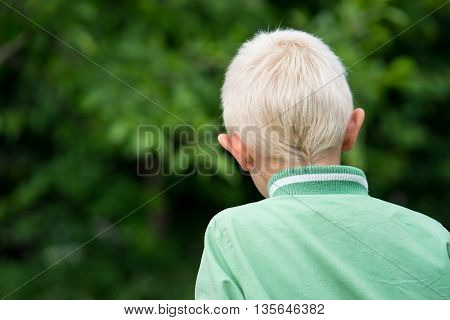 The head of the little blond boy in the Garden