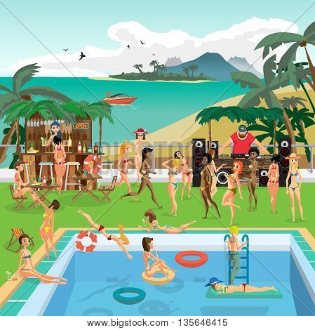 Party outdoor swimming pool on the beach in the tropics. Dj, bar, women bathe, sunbathe, dive into the pool. Vector cartoon flat illustration.