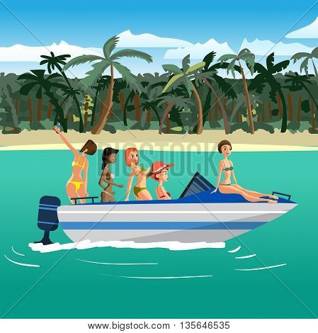 Women in bikini riding on a motorboat around a tropical beach. Flat cartoon vector illustration. Boat is near the beach, girls sunbathe, make selfie