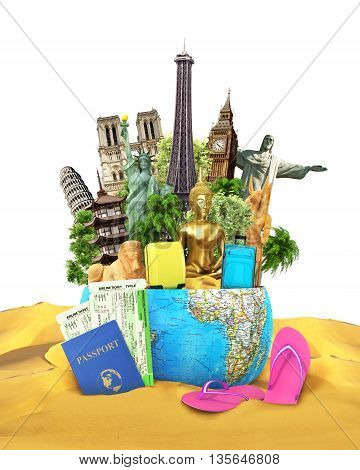 Travel concept. Sights from around the world are located in the planet which lies on the squeaking and beside of the passport with tickets and beach slippers. 3d illustration