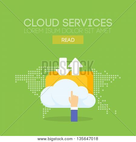 Cloud service banner concept. Map background. Vector illustration