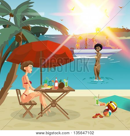 Summer on the beach: women relaxing on the beach, sitting under an umbrella, and ride on a motorboat, swim in the rays of bright sunshine. Vector cartoon flat illustration