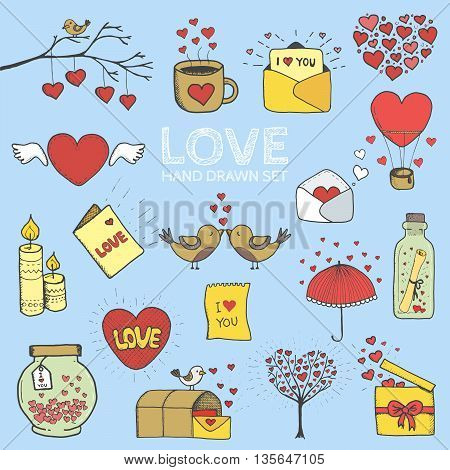 I love you doodle icon set isolated, vector illustration hand drawn.