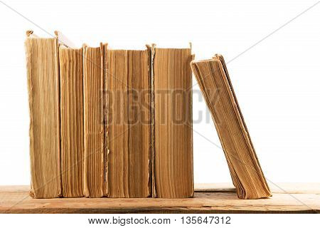 Stack Of Old And Used Hardback Books Or Text Books  Isolated On White Background