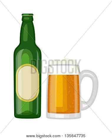 Beer glass bottle on white background and vector beer glass bottle. Beer glass bottle beverage liquid cold and pub lager beer glass bottle. Bottle fresh dark cold beer and glass full delicious beer.