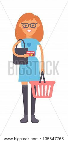 Cute fashion girl hold big hop basket isolated on white background for your text. Young happy smile girl standing hold pointing her hand on shop basket, attractive girl wear blue dress.