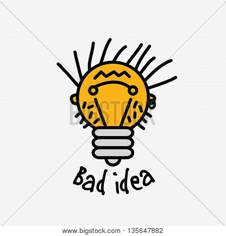 Bad idea color symbol bulb object face logo icon with fun sign. Color vector illustration. EPS8