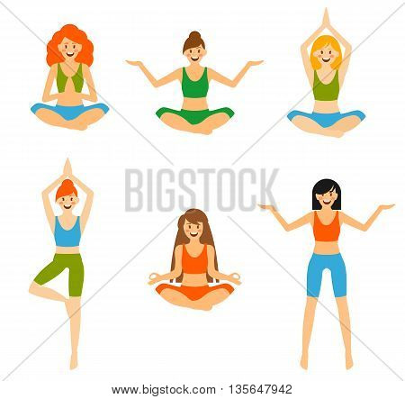Vector set of yoga poses isolated on white background. Human body stretching positions.