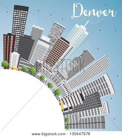 Denver Skyline with Gray Buildings, Blue Sky and Copy Space. Business Travel and Tourism Concept with Modern Buildings. Image for Presentation Banner Placard and Web Site.