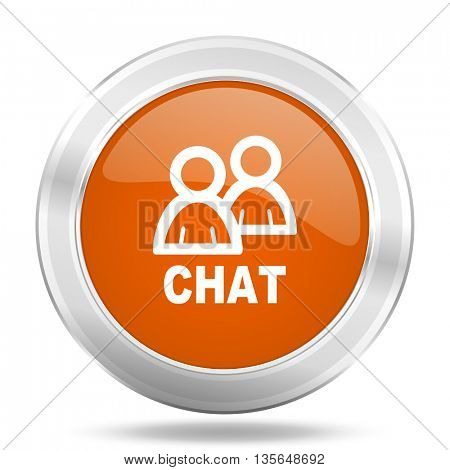 chat vector icon, metallic design internet button, web and mobile app illustration