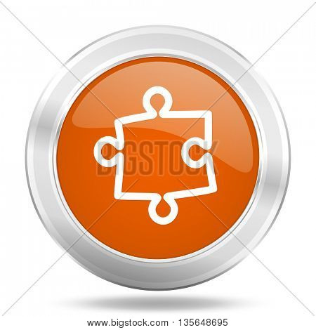 puzzle vector icon, metallic design internet button, web and mobile app illustration