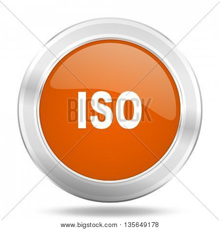 iso vector icon, metallic design internet button, web and mobile app illustration