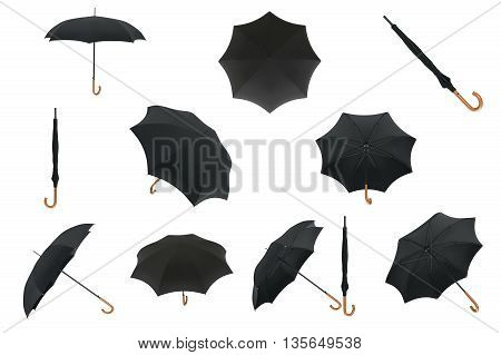 Set black classic umbrella open, closed with wooden handle. 3D graphic