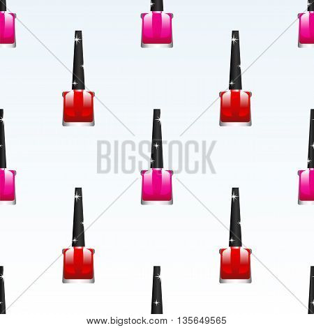 Red Pink Nail Polish Background. Cosmetic Bottles Seamless Pattern.