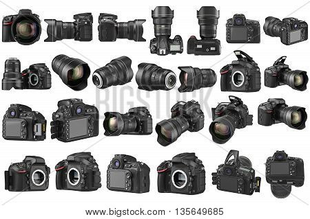Set digital DSLR camera professional zoom lens. 3D graphic