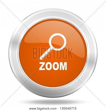 zoom vector icon, metallic design internet button, web and mobile app illustration