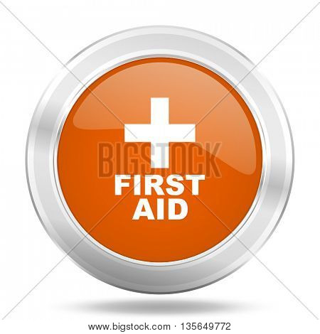 first aid vector icon, metallic design internet button, web and mobile app illustration