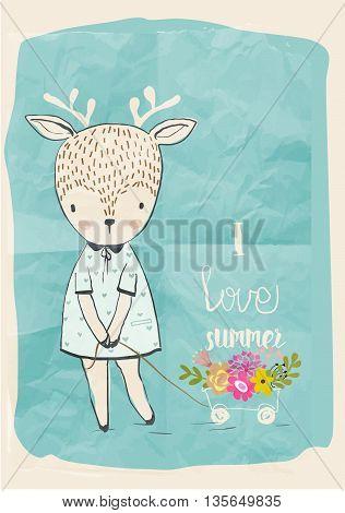 cute little doodle deer in summer dress