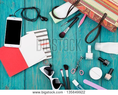Summer Women Set With Straw Bag, Smartphone With Headphones, Notepads, Sunglasses, Cosmetics Makeup