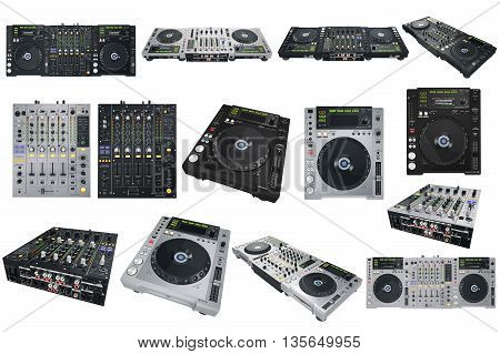 Set Dj musical equipment mix. 3D graphic
