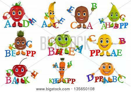 Set fruit cartoon characters with vitamins. 3D Graphic