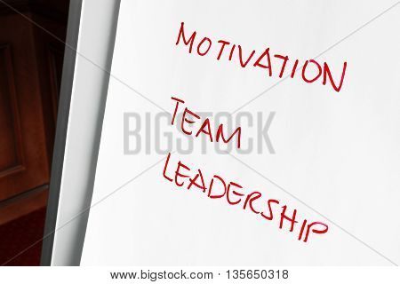 Business planning concept with a handwritten list in red on a page of paper with the annotations - Motivation Team and Leadership - the answer to success