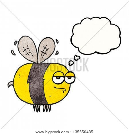 freehand drawn thought bubble textured cartoon unhappy bee