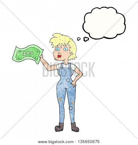 freehand drawn thought bubble textured cartoon confident farmer woman with money