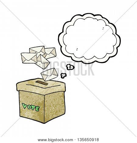 freehand drawn thought bubble textured cartoon ballot box