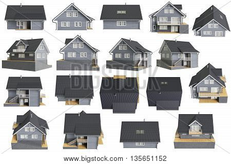 Set houses cottages wooden facade. 3D graphic