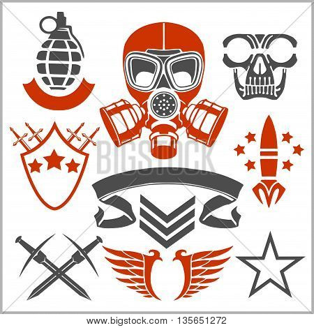 Military symbols vector illustration. Set of military and army forces. Military symbols design. Military symbols with weapon and people uniform.