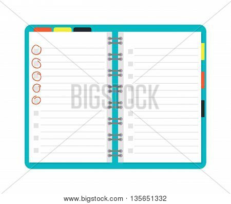 Opened notebook planner and white page. Open notebook vector illustration. Opened notepad book blank page white empty paper and opened notepad business note diary sheet education pad document template