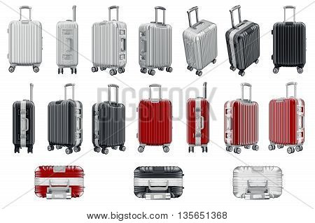 Set luggage travel. 3D graphic object isolated on white background