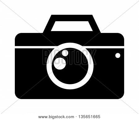 Black photo camera digital film photo camera icon. Flat photo camera black icon optical classic camera. Digital flat photo camera black silhouette isolated technology vector.