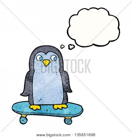 freehand drawn thought bubble textured cartoon penguin riding skateboard