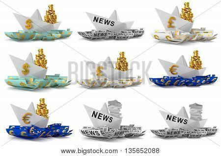 Set paper boat isolated on white background. 3D Graphic
