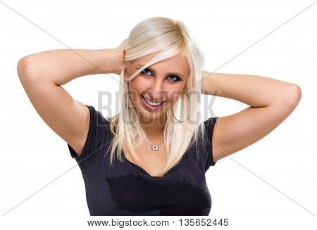 Beautiful woman portrait smiling - isolated over white background with copy space