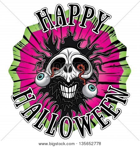 zombie skull with eyes coming out halloween design