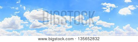 Panorama sky and cloud background. Panoramic composition in high resolution.