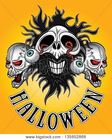 halloween horror human dead zombie skulls design