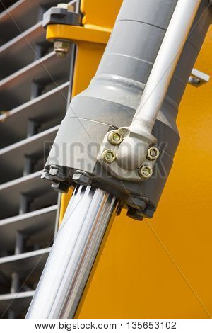 chrome-plated hydraulic mechanism close-up shot Machinery Piston