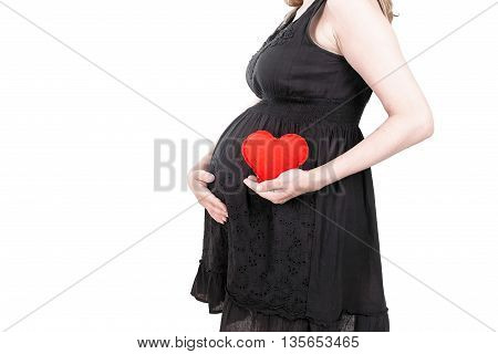 Maternity concept : pregnant woman touching her tummy and holding in hands of red heart clipping path