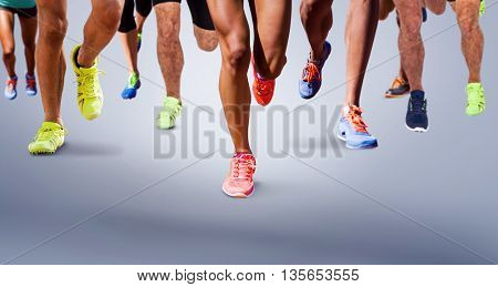 Close up of sportsman legs running on a white background against grey vignette
