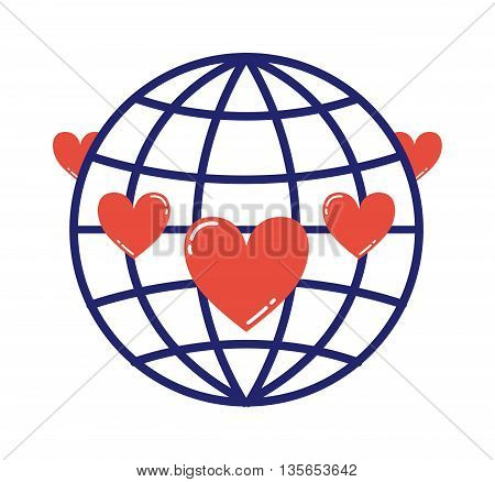Lovely globe love logo earth planet eco symbol with hearts. Vector globe love logo earth heart peace. World environment care element globe love abstract united, religion silhouette logo.