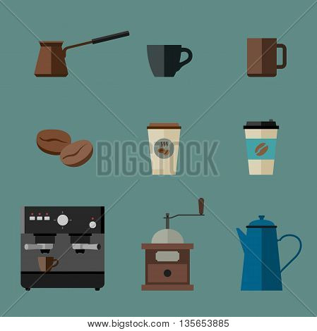 Coffee icons set in flat style. Flat icons coffee machine, cups, coffee beans and coffee pots.