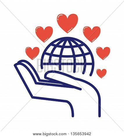 With love care to our planet earth care vector illustration. Environment planet nature protection earth care. Eco hand environmental earth care world green globe concept ecology symbol.