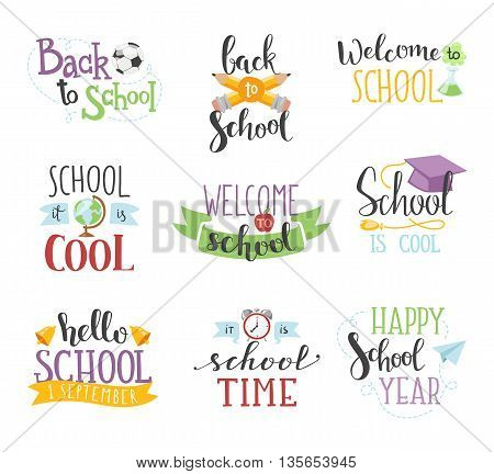 Back to school calligraphic text designs. Retro style back to school text elements vintage ornaments. Vector set back to school text education learning colorful pencil color typography decoration.